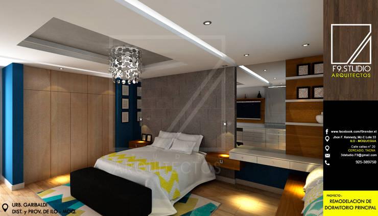 Vista Lateral de Cabecera y ropero existente: Dormitorios de estilo  por F9.studio Arquitectos, Moderno Cerámico