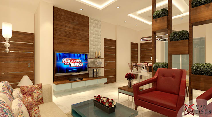 LIVING AREA VIEW 1:  Living room by MAD DESIGN