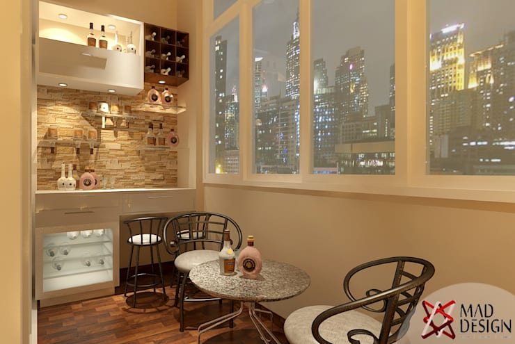 BAR AREA VIEW: modern Wine cellar by MAD DESIGN