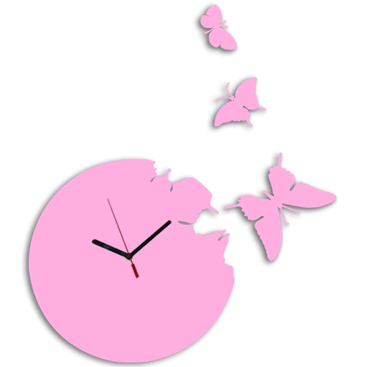 Kairos Butterfly Round Clock - Pink:  Living room by Just For Clocks