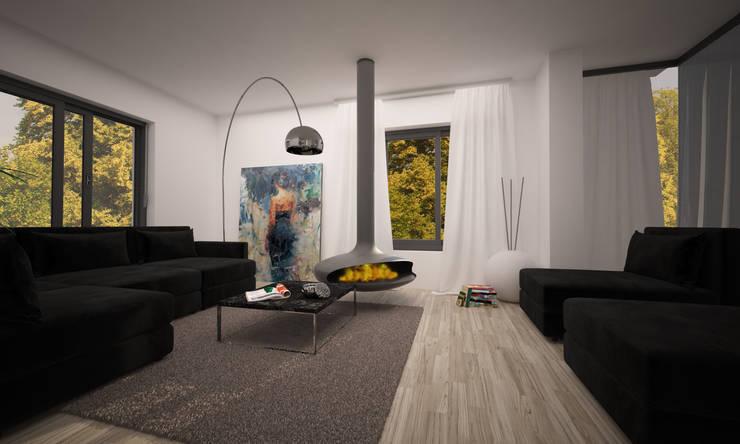 VILLA PIOSSASCO: Soggiorno in stile  di LAB16 architettura&design