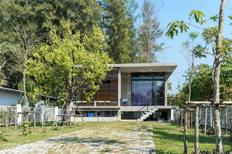 งานออกแบบบ้านพักตากอากาศชั้นเดียว เขาใหญ่ จ.นครราชสีมา อ.ชนะ รักษ์ศิริ:   by fewdavid3d-design