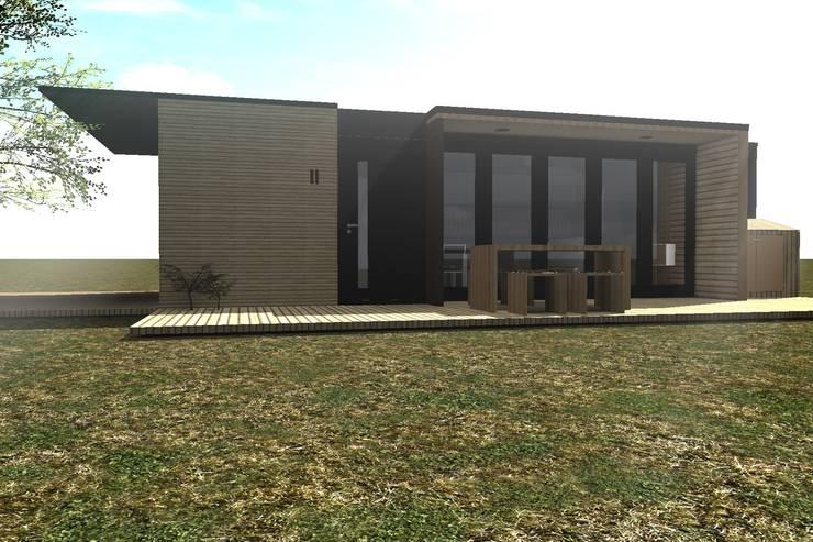 "CASA ""A-C"" Vista Frontal: Casas de madera de estilo  por Dakota Austral"