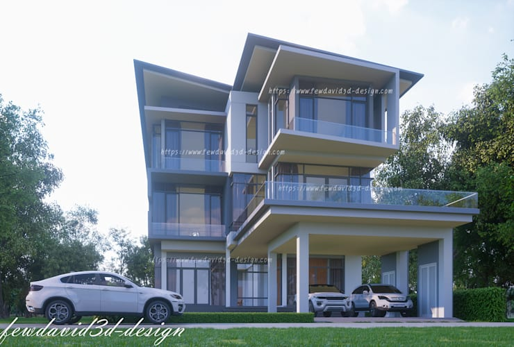 Modern three storey house in Phnom Penh Cambodia .Mr.Samnang:   by fewdavid3d-design