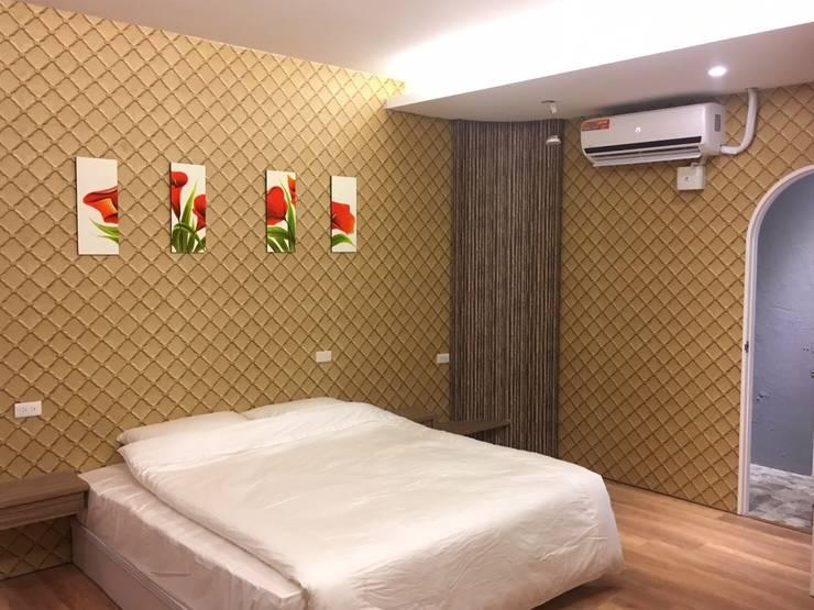 山坡地私人會館更改建造設計裝潢:  臥室 by 登品空間規劃工程有限公司