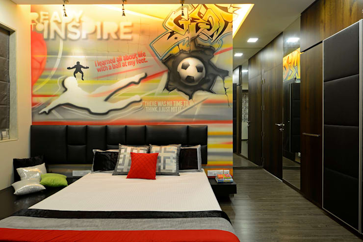 Matunga Apartment:  Boys Bedroom by Fourth Axis Designs,Modern