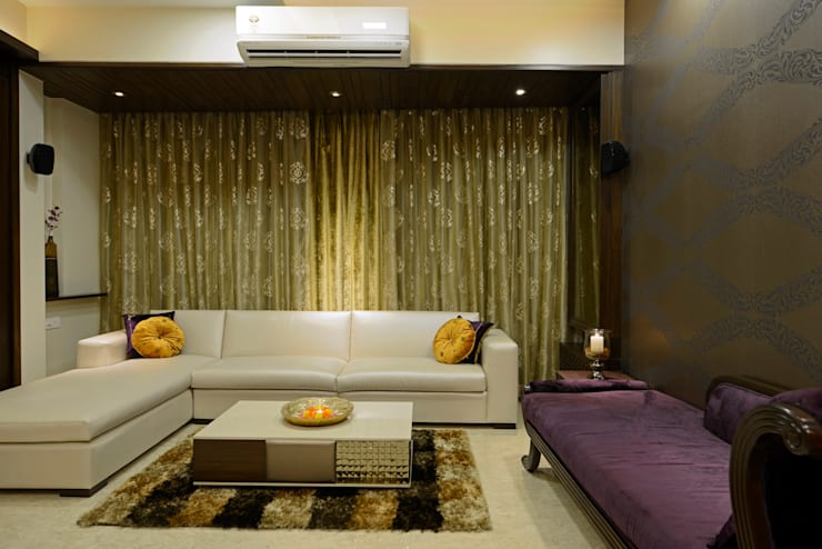 Matunga Apartment:  Living room by Fourth Axis Designs