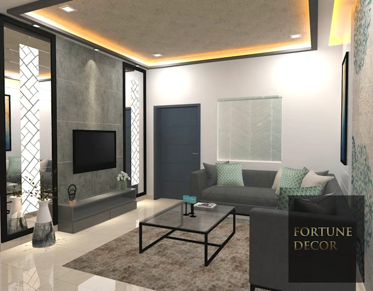 LIVING SPACE - TV UNIT:  Living room by FORTUNE DECOR