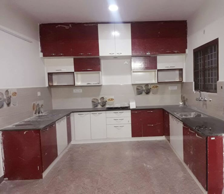 U Shaped Kitchen Designs:  Kitchen by Scale Inch Pvt. Ltd.