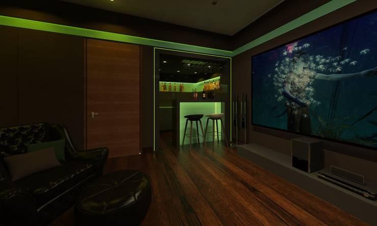 Home Theatre:  Media room by Ravi Prakash Architect