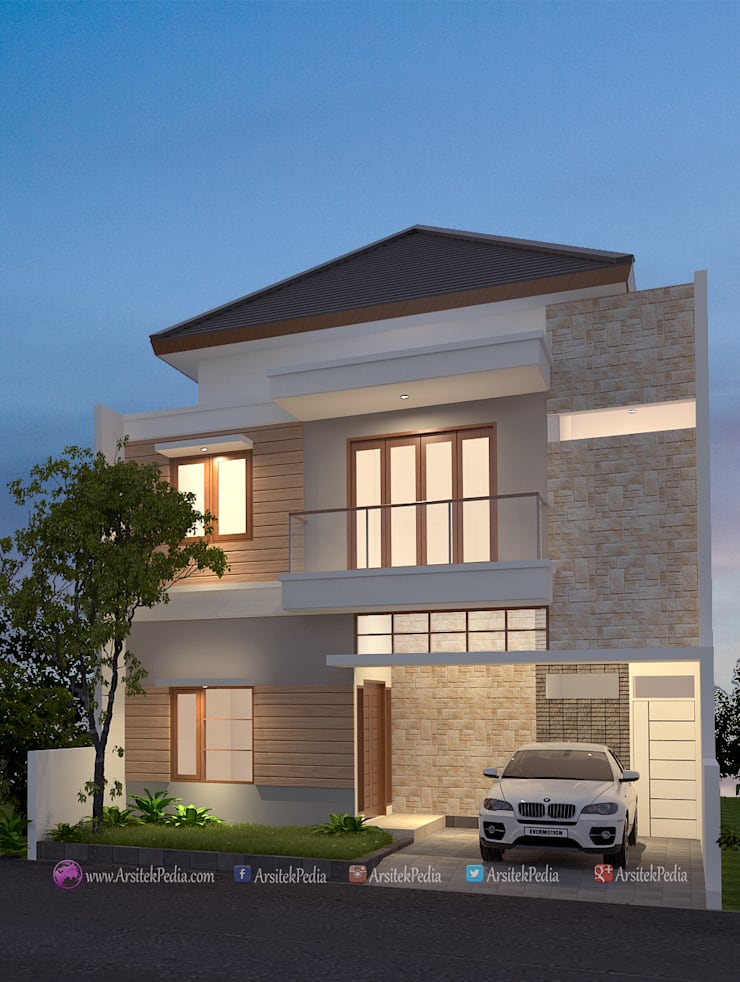 Detached home by Arsitekpedia, Minimalist Bricks
