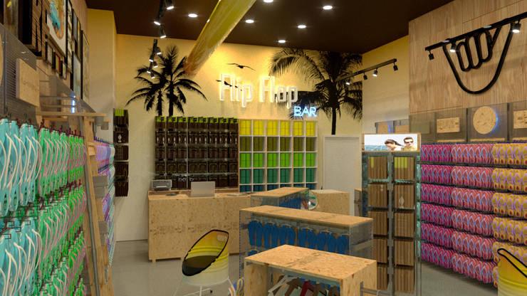 CONCEPTO Y DISEÑO PARA FRANQUICIA COMERCIAL. ARTICULOS PLAYEROS: Centros comerciales de estilo  por Proyectonica