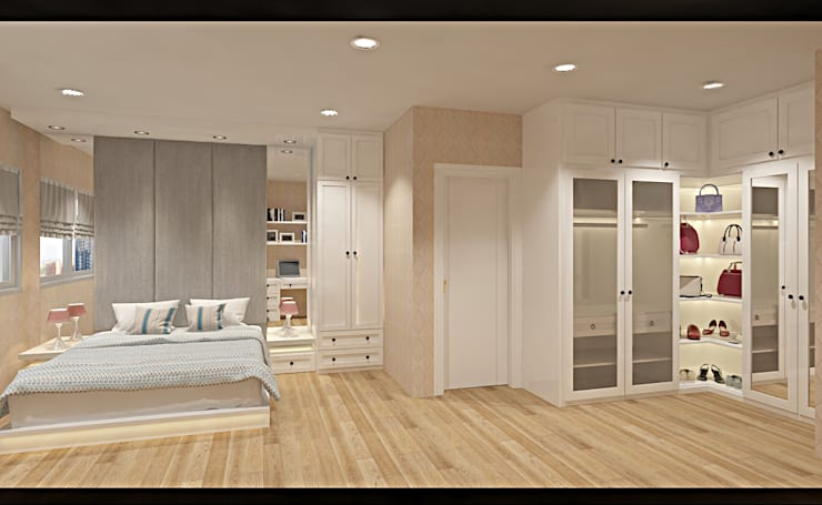 bedroom + wardrobe:  Bedroom by DARI
