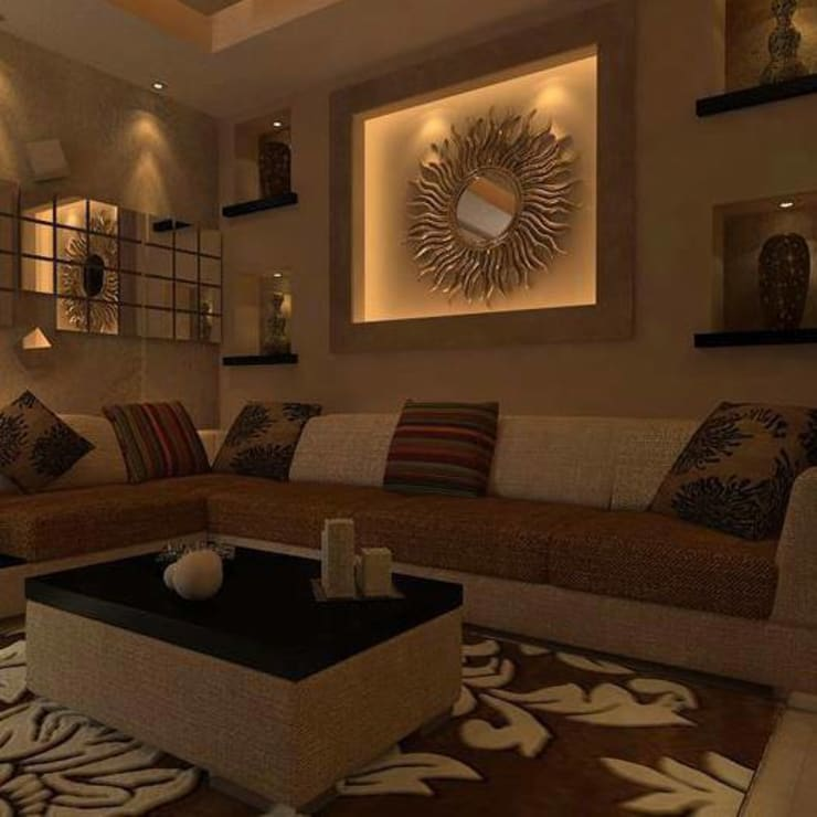 Mr. Saboo's Residential Space Design:  Living room by TVK Modular Furniture