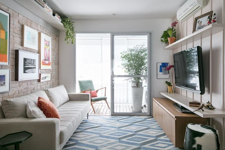 غرفة المعيشة تنفيذ Kika Tiengo Arquitetura