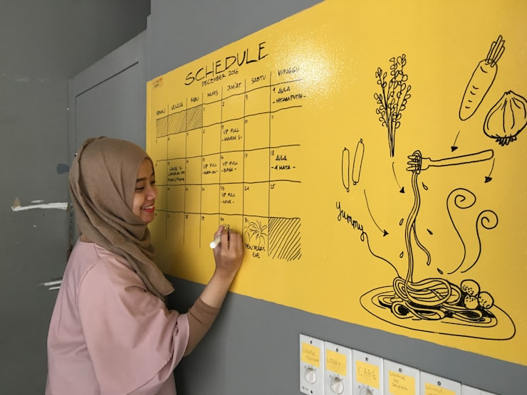 Eduplex Bandung:  Walls & flooring by Naya Fond Living