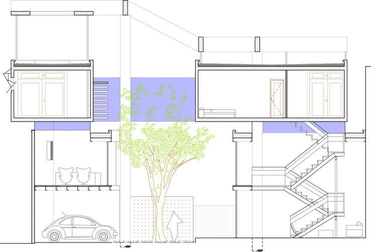 Corte longitudinal: Casas unifamiliares de estilo  por Arq. Ilacqua,