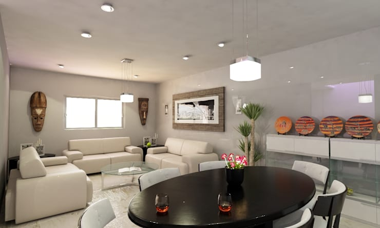 SALA PRINCIPAL: Salas de estilo  por OLLIN ARQUITECTURA