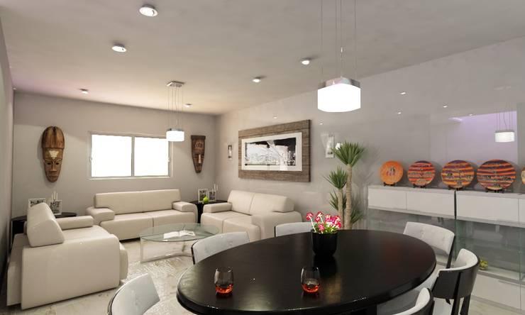 "VISTA ""ESTAR PRINCIPAL"": Salas de estilo moderno por OLLIN ARQUITECTURA"