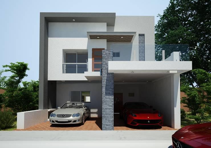 FACHADA : Casas unifamiliares de estilo  por OLLIN ARQUITECTURA