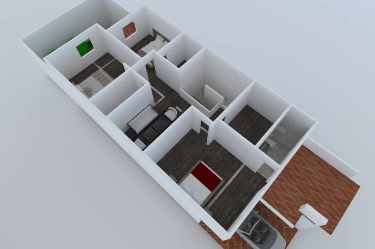 PLANTA ALTA: Casas unifamiliares de estilo  por OLLIN ARQUITECTURA