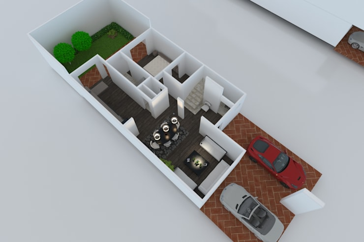 PLANTA BAJA: Casas unifamiliares de estilo  por OLLIN ARQUITECTURA