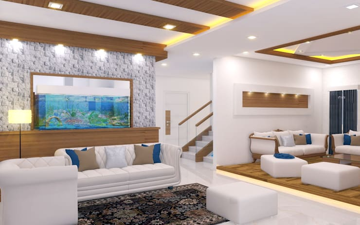 PENTHOUSE DESIGNS:  Living room by shree lalitha consultants