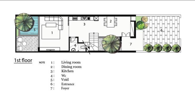 T HOUSE:  Nhà gia đình by AE STUDIO DESIGN