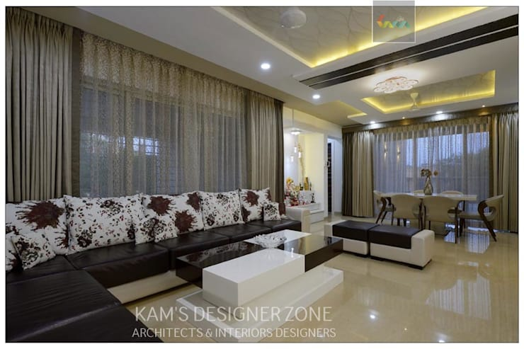 Living Room Interior Design: modern Living room by KAM'S DESIGNER ZONE