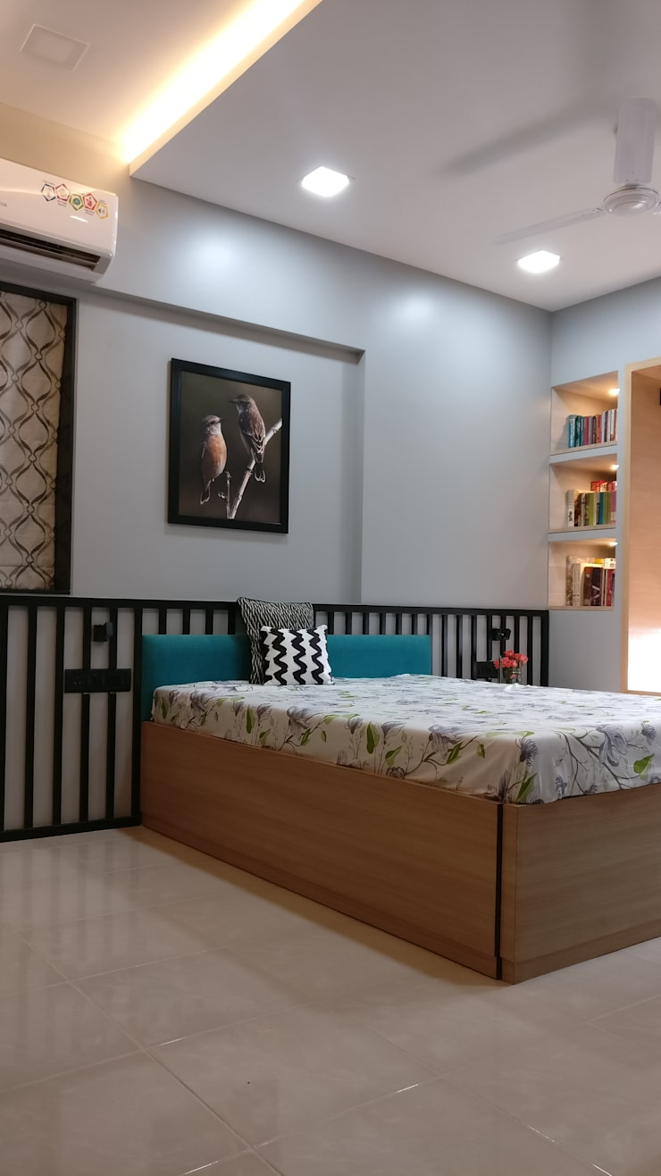 Mahim Residence got a blue touch:  Bedroom by Olive Roof,Scandinavian Wood Wood effect