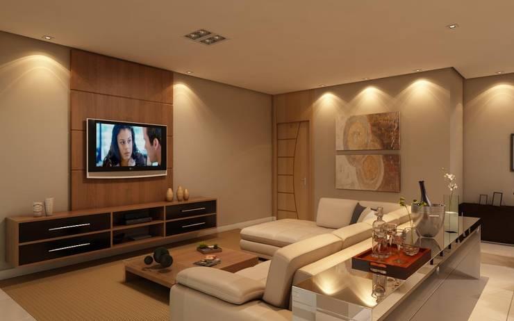 Home (Sala de Tv): Salas de estar  por Marcelo Brasil Arquitetura
