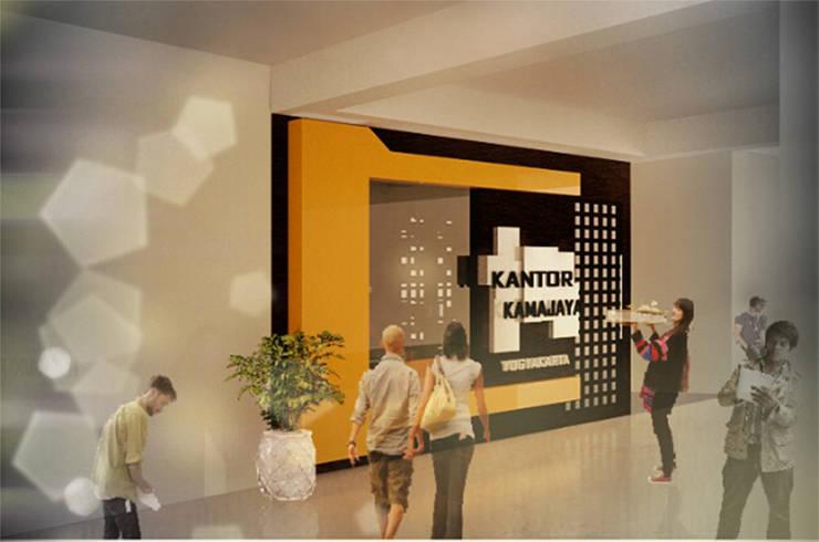 visualisasi 3d desain facade & interior ruang kantor KAMAJAYA JOGJA:  Ruang Kerja by MY Studio