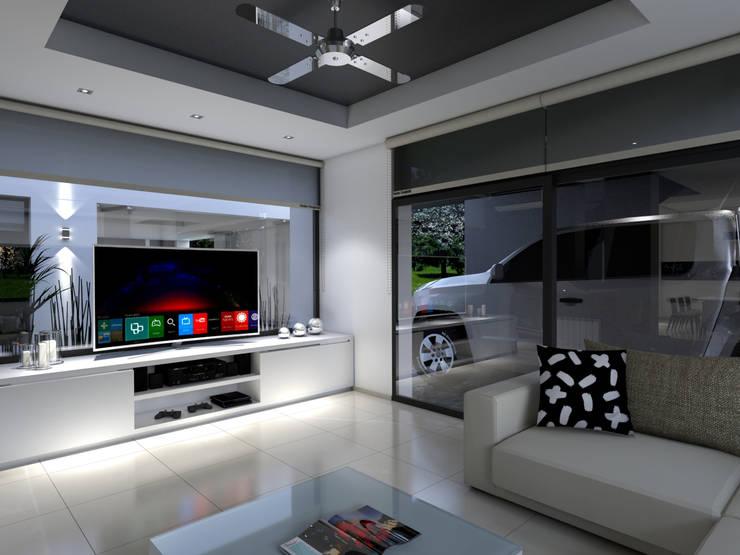 Casa D+T – RESIDENCIA PERMANENTE: Livings de estilo  por D'ODORICO ARQUITECTURA,
