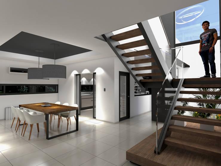 Casa D+T – RESIDENCIA PERMANENTE: Pasillos y recibidores de estilo  por D'ODORICO ARQUITECTURA,