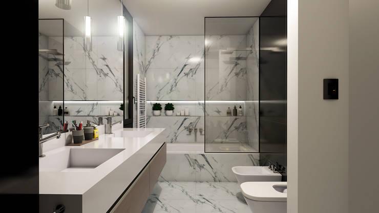 Casa D+T – RESIDENCIA PERMANENTE: Baños de estilo  por D'ODORICO ARQUITECTURA,