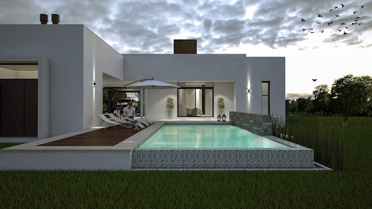 Casa D+T – RESIDENCIA PERMANENTE: Piletas de estilo  por D'ODORICO ARQUITECTURA,