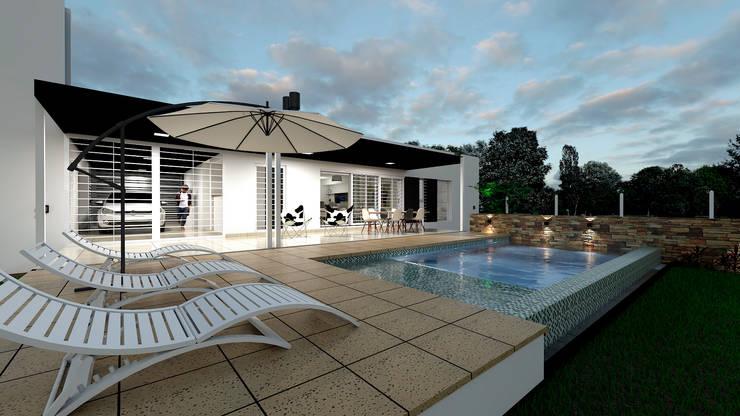 Casa CL –  RESIDENCIA DE FIN DE SEMANA: Piletas de estilo  por D'ODORICO OFICINA DE ARQUITECTURA