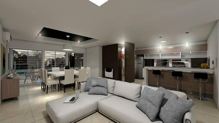 Casa CL –  RESIDENCIA DE FIN DE SEMANA: Livings de estilo  por D'ODORICO OFICINA DE ARQUITECTURA