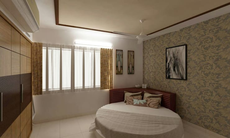 Mr. Fazal 's Home Interior Design:  Bedroom by Walls Asia Architects and Engineers,Modern