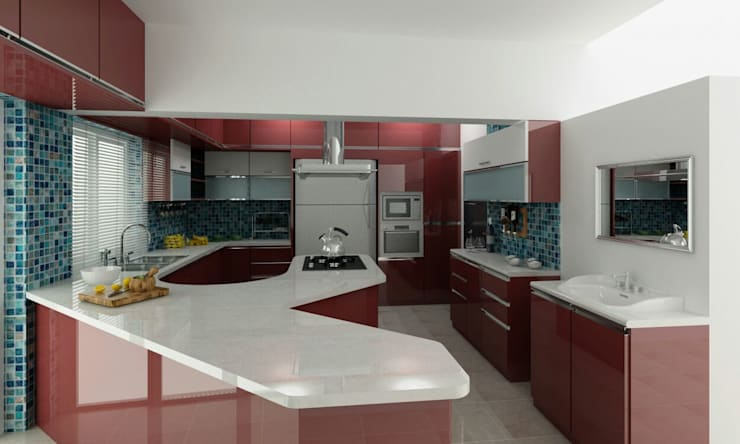 Mr. Fazal 's Home Interior Design:  Kitchen by Walls Asia Architects and Engineers