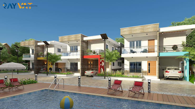 3D Architectural Exterior Rendering :  Multi-Family house by Rayvat Rendering Studio