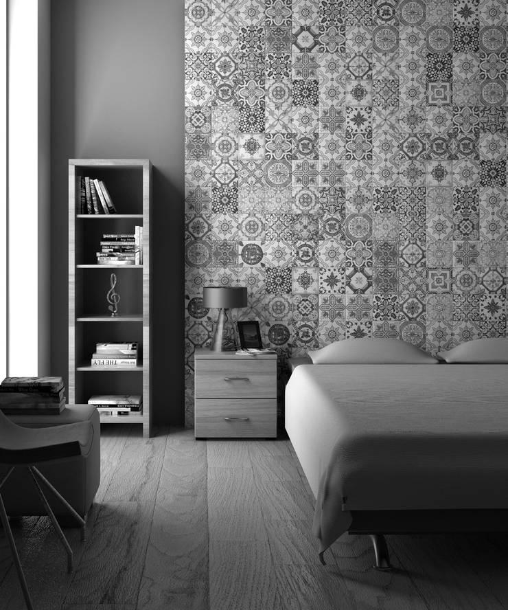 Kreative Wanddesign mit Patchwork Fliesen:  Schlafzimmer von Fliesen Sale