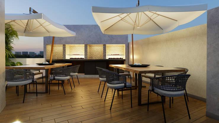 AREA BBQ - PROYECTO M: Paisajismo de interiores de estilo  por FABRE STUDIO,