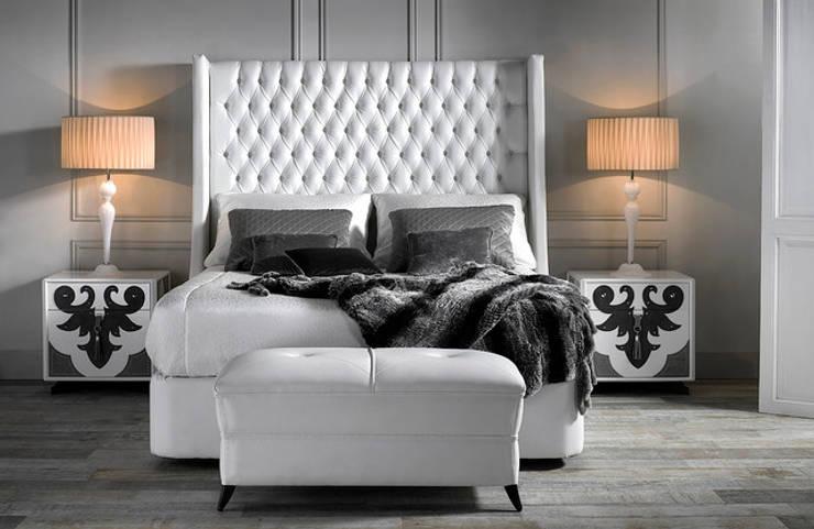 VALENTINA bedroom with TROYANO headboard: modern Bedroom by S. T. Unicom Pvt. Ltd.