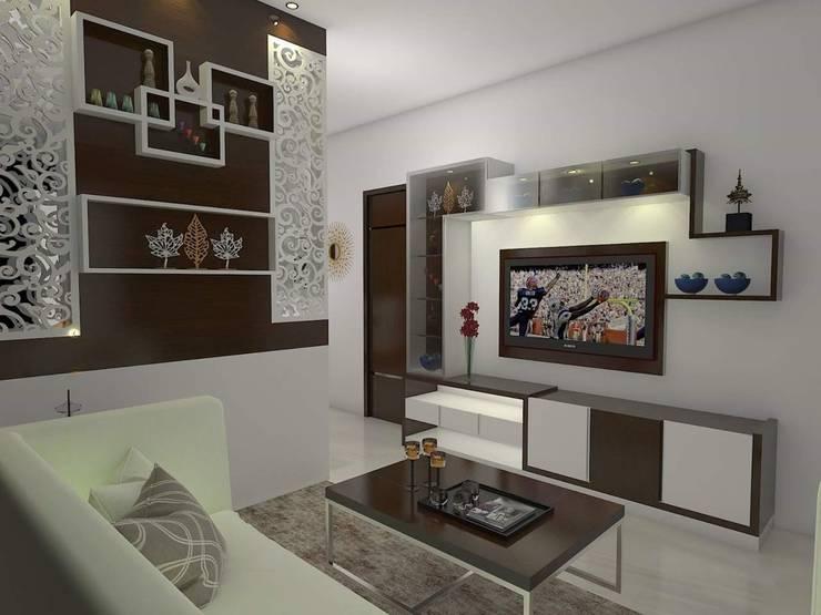 Living Room :  Living room by URBAN HOSPEX INTERIORS