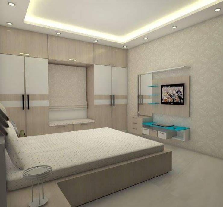 Master Bed Room: modern Bedroom by URBAN HOSPEX INTERIORS