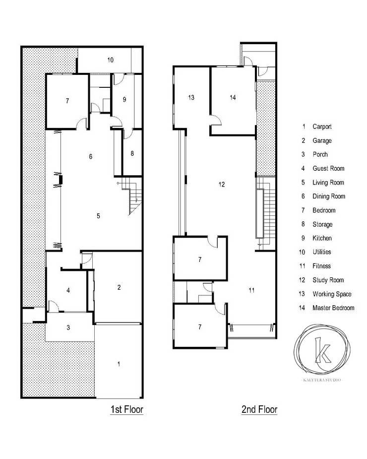 Denah:  Rumah tinggal  by Kalytera Studio