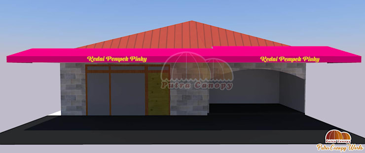 Canopy Kain Jakarta Konsep 3D (Kedai Pempek):  Balconies, verandas & terraces  by Putra Canopy