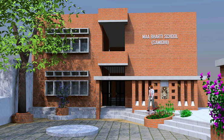 Maa Bharti Jr. School:  Country house by Ravi Prakash Architect,Modern Bricks