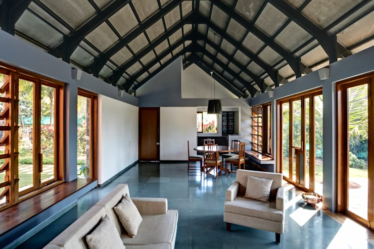 Kashid House:  Living room by DCOOP ARCHITECTS